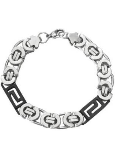 Black::Silver  Box Byzantine Chain LinkFashion Bracelet