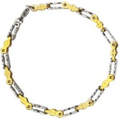 Gold::Silver Box Byzantine Chain Link Fashion Stainless steel Bracelets