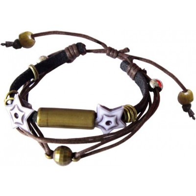 Elegant Brown Leather With Cotton Dori Fashion Leather Bracelet