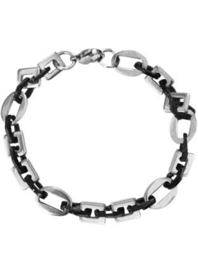 Silver::Black Byzantine Chain Style Stainless steel Bracelets