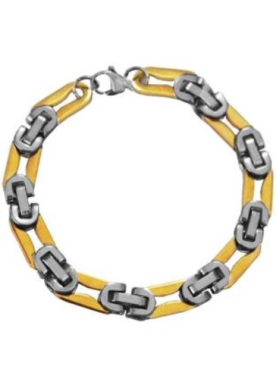 Silver::Gold Byzantine Chain Style Stainless steel Bracelets