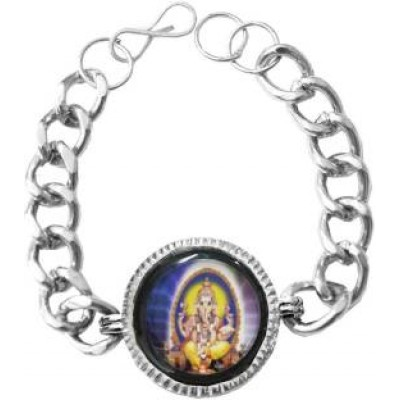 Elegant Silver Religious Ganesha Bracelet