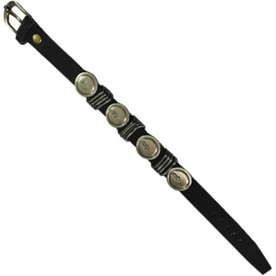 Stylish Black Fancy Design Leather Bracelet