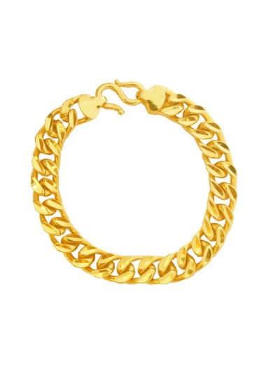 Menjewell Simple But Classic Gold Imported Quality Cuban Style Link Brass Bracelet