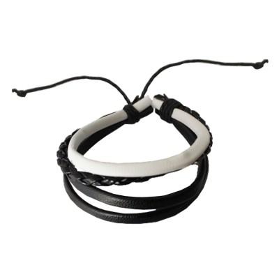 Black::White New Stylish Leather Fashion Leather Bracelet