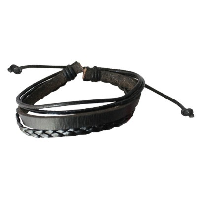 Black New Stylish Fashion Leather Bracelet