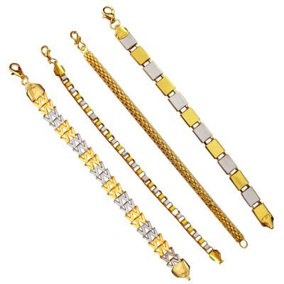 Menjewell Stylish & Fancy  Multicolor Flat Type Link Chain Design Metal Bracelet Set  Combo ( set of 4)