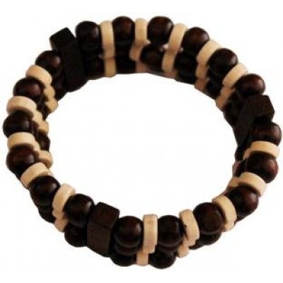 Beige::Maroon Beautiful Wood Bead Stretchable combo Bracelet set Wood Bracelet
