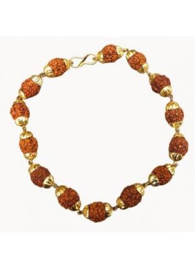 Brown Rudraksha With Gold Cap Rudraksha Bracelet