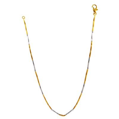Menjewell Silver Gold Two Tone Italian Stainless Steel Chain Necklace For Men