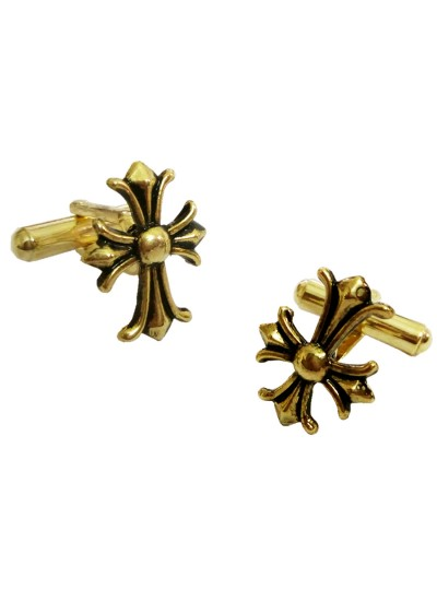 Menjewell New Collection  Gold Symmetrical cross Peer Design Fashion Button Cufflink For Men & Boys