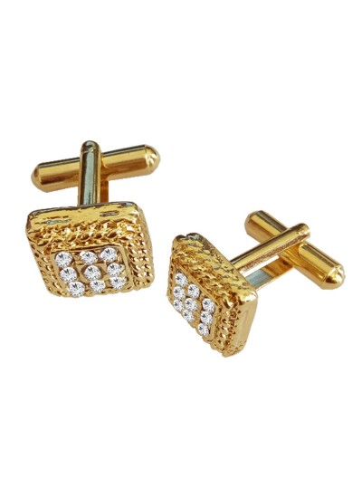 Menjewell New Collection  Gold Stone Studded Square Design Fashion Button Cufflink Set For Men & Boys
