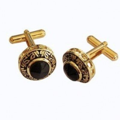 Menjewell Imported Men Gold Black Stone Studed Round Design Antique Cufflinks Formal Dress Shirt Cuff Links Collar Button