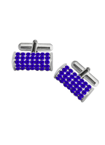 Menjewell Imported Men Silver Blue Stone Studed Antique Design Stones Crystal Cufflinks