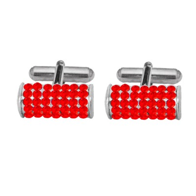 Menjewell Imported Men Silver Red Stone Studded Antique Design Stones Crystal Cufflinks