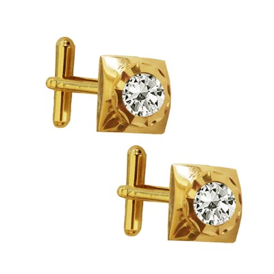 Menjewell Classic & Rich Collection Gold Plated Square Design Formal Dress Cufflinks,Shirt Cuff Links Collar Button Stones Crystal Cufflinks Gift For Men