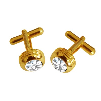 Menjewell Classic & Rich Collection Gold Plated Round Design Formal Dress Cufflinks,Shirt Cuff Links Collar Button Stones Crystal Cufflinks Gift For Men