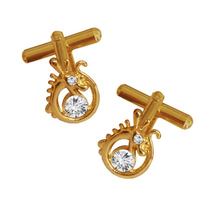 Menjewell Classic & Rich Collection Gold Plated Dragon Design Formal Dress Cufflinks,Shirt Cuff Links Collar Button Stones Crystal Cufflinks Gift For Men