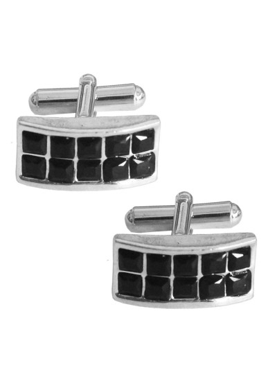 Menjewell Silver & Black Rectangle Design Black Stone Formal Dress Cufflinks,Shirt Cuff Links Collar Button Stones Crystal Cufflinks