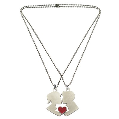 Menjewell Friendship Day Special Gift Collection One For Me & One For U Magnetic Girl & Boy Love Kiss Pendant