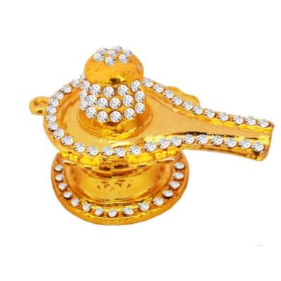 Indian Goddess Stone Studed Shiv Idol Religious Gold Shiva Lingam/ Shivling Showpiece/ Shivlingam(3cmX 4.5cm,Metal, Multicolor)
