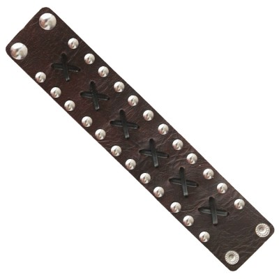 Menjewell Stylish Leather Jewelry  Brown:Silver  Dot Design Wrist Band Bracelet