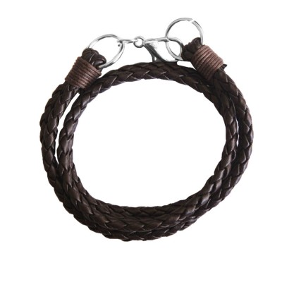 Menjewell Stylish Leather Jewelry  Brown:Silver  Dual Strand Design Bracelet
