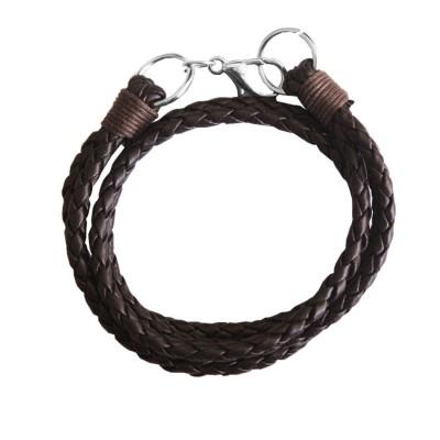 Menjewell Stylish Leather Jewelry  Brown:Silver  Dual Strand Design Bracelet