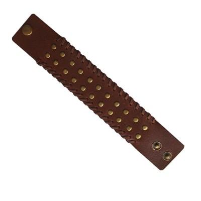 Menjewell Stylish Leather Jewelry  Brown:Gold  Dot Design Wrist Band Bracelet