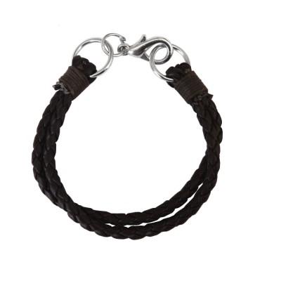 Menjewell Stylish Leather Jewelry  Black  Multi Strand Design Leather Bracelet