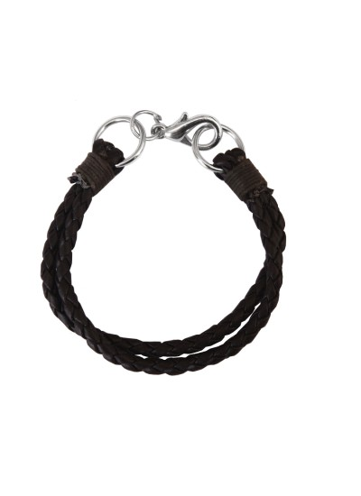 Menjewell Stylish Leather Jewelry  Black  Multi Strand Design Leather Bracelet