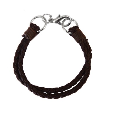 Menjewell Stylish Leather Jewelry  Brown  Multi Strand Design Bracelet