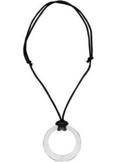 Silver::Black  Ring Round Leather Design Pendant