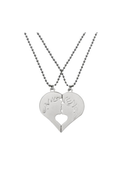Menjewell Silver Happy Boy and Girls Kiss Charms Broken Heart Dual Pendants