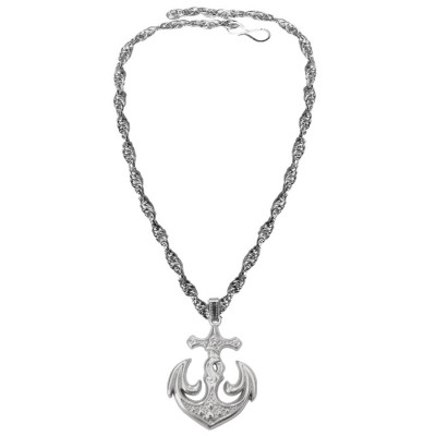 Silver  Oxidized Anchor Fashion Pendant