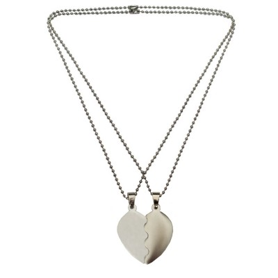 Mens Fashion Jewellery Heart Collection Silver Valentine Day Special Gift For Lovers Undivided Attention Sweet Heart Pendant With Chain