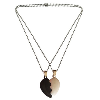 Heart Collection Black::Silver Valentine Day Special Gift For Lovers Undivided Attention Sweet Heart Pendant With Chain