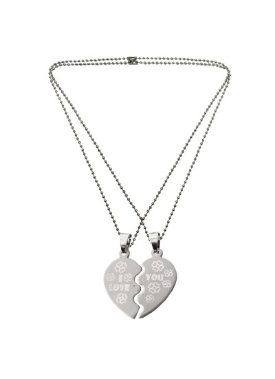 "Menjewell Heart Jewellery Collection Silver ""I Love You"" Broken Heart Pendant With Chain"
