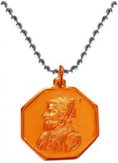 Elegant  copper  shivaji Maharaj with rajmudra  Pendant