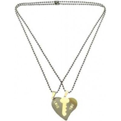 Elegant  Silver::Gold  Key & Heart Fashion Pendant