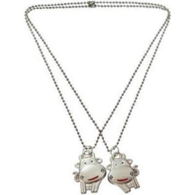 Elegant  Silver::Red  Friendship Day Special Hippo Fashion Pendant