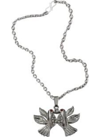 Elegant  Silver::Red  Love Bird Fashion Pendant