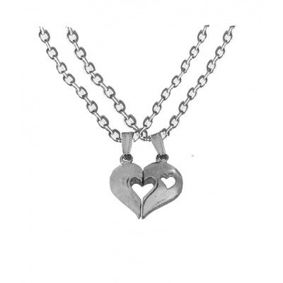 Elegant Silver Breakable Heart Fashion Broken Heart Dual Pendants