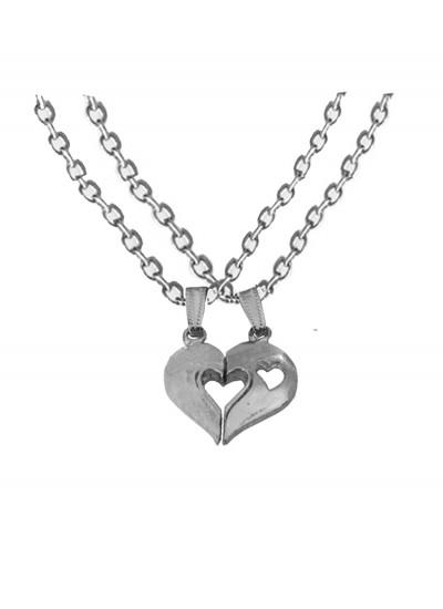 Elegant Silver Breakable Heart Fashion Broken Heart Dual Pendants