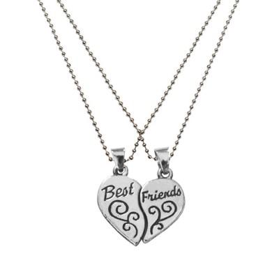 Silver Breakable Heart Fashion Broken Heart Dual Pendants