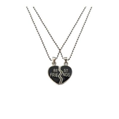 Silver::Black Breakable Heart Best Friend Fashion  Broken Heart Dual Pendants