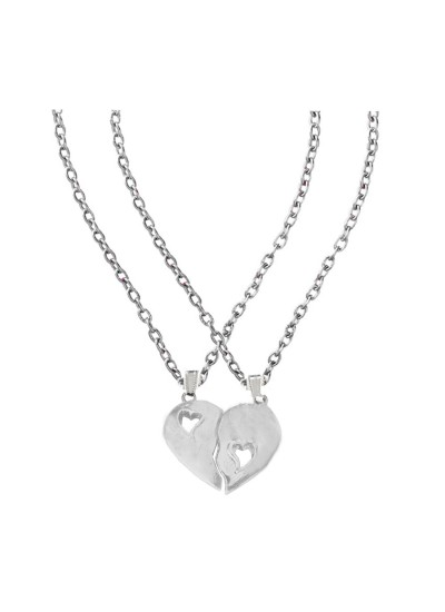 Elegant Silver Breakable Heart Love Fashion Broken Heart Dual Pendants