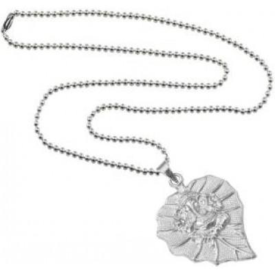 Silver  Lord Ganesha in Leaf design Pendant