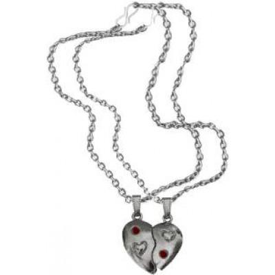 Elegant Silver::Red Breakable Heart Fashion Broken Heart Dual Pendants