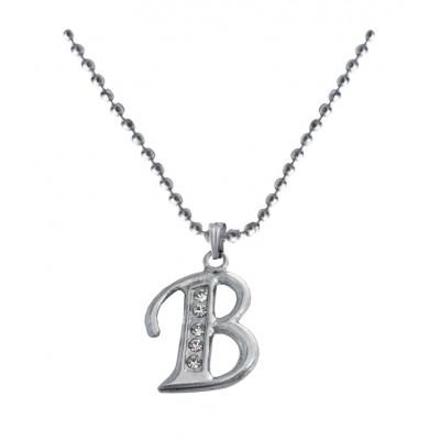 Silver  B- Alphabet Pendant